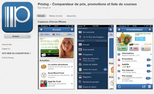 App mobile de comparaison de prix
