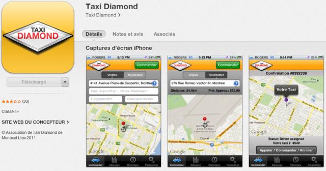 App mobile pour appeler un taxi