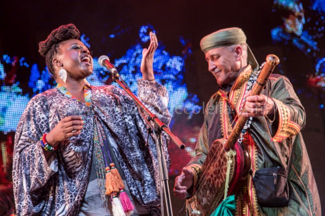 Eska and Maalem Abdelkbir Merchane during their performance fusion