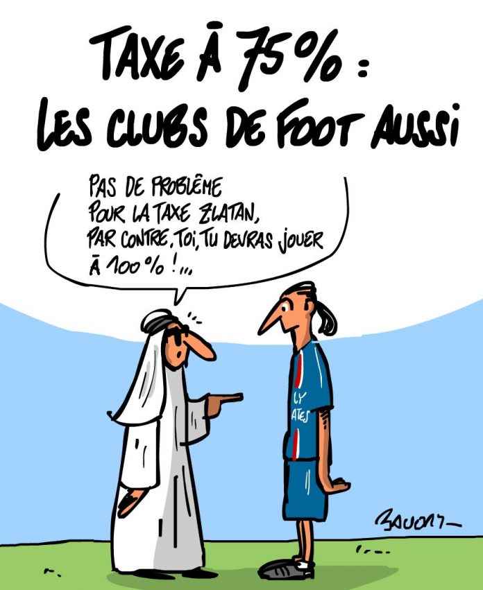 Les dessins d'actualité de l'illustrateur Hervé Baudry. Credit Photo : Hervé Baudry http://blogs.rue89.com/baudry/2013/04/02/taxe-75-les-clubs-de-foot-aussi-230017
