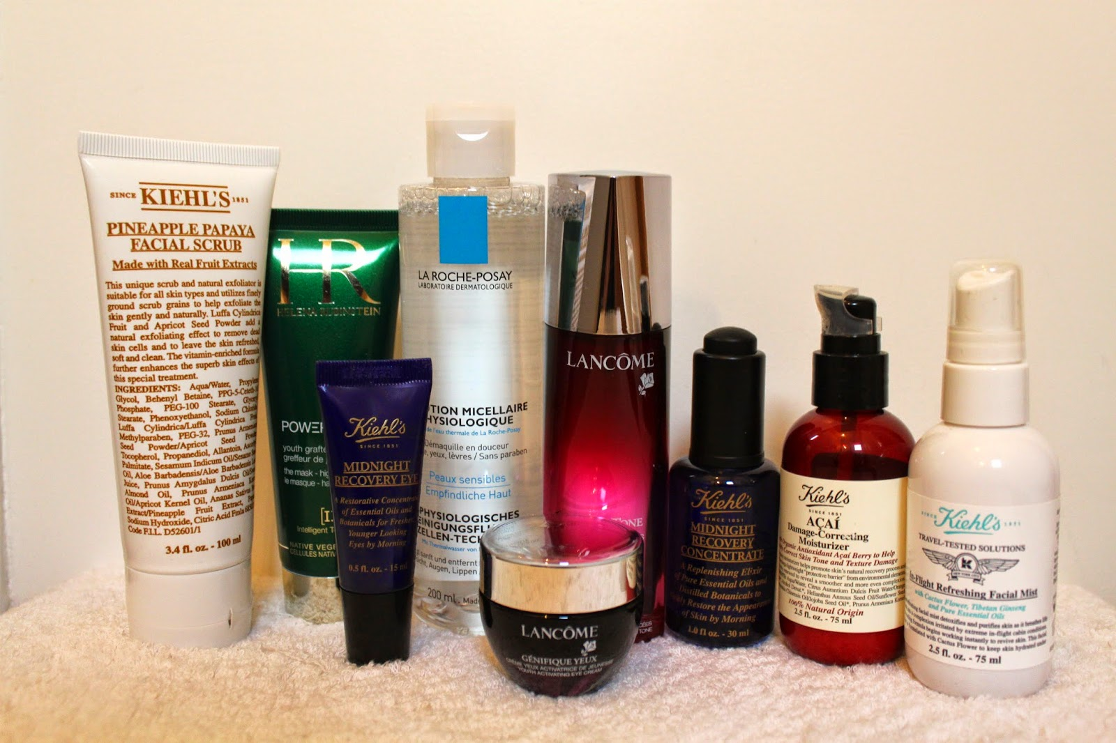 skincare products review kiehls lancome helena