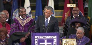 Barack Obama lors de l'hommage aux victimes de la tuerie de Charleston le 26 juin 2015