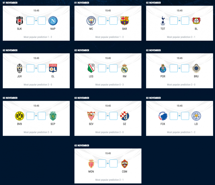 UEFA Champions League Match Calendar