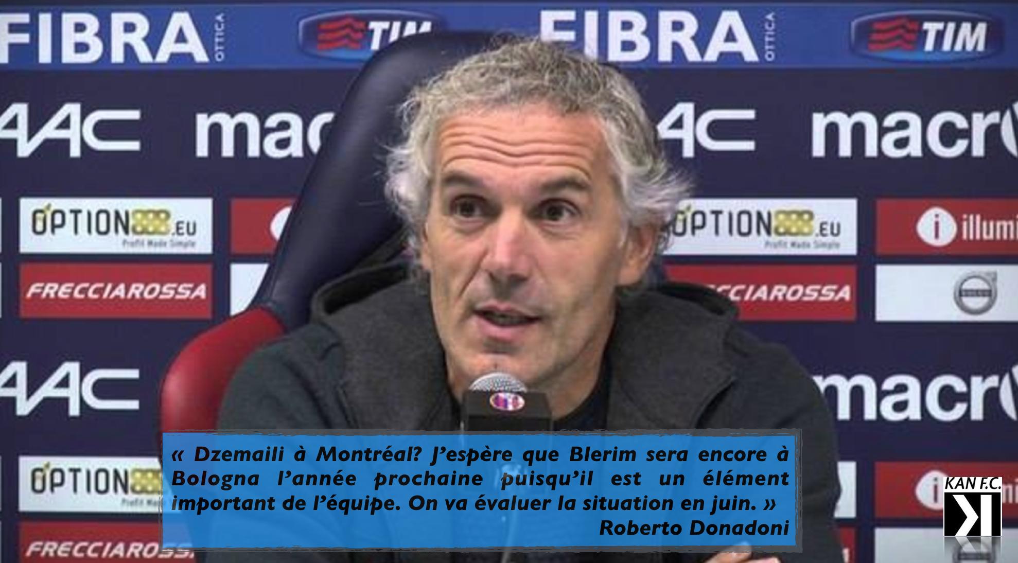 Roberto Donadoni espère revoir Blerim Dzemaili avec Bologna FC en 2017.