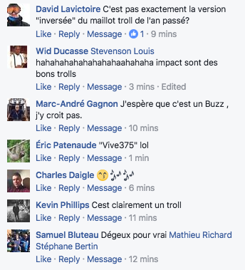 commentaires facebook maillot impact