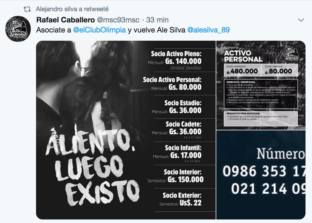 Alejandro Silva Tweet