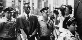image Accused rapist Yusef Salaam is escorted by police.
