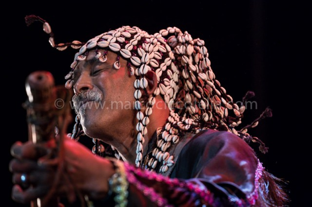 Maalem Abdelkbir Merchane during his performance at the concert in place  Moulay Hassan During Festival