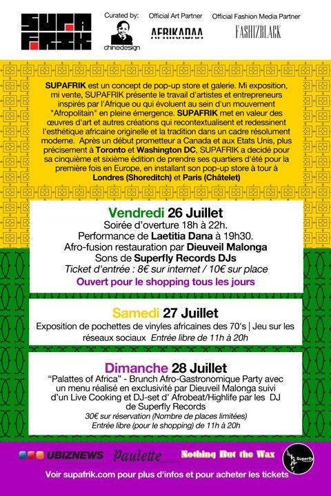 SUPAFRIK Paris flyer back-Le programme