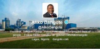 Aliko Dangote sur Twitter