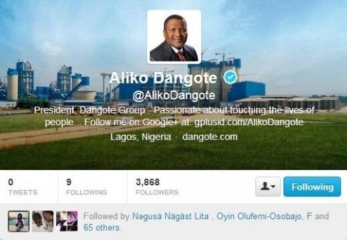 Le milliardaire nigérian Aliko Dangote sur Twitter