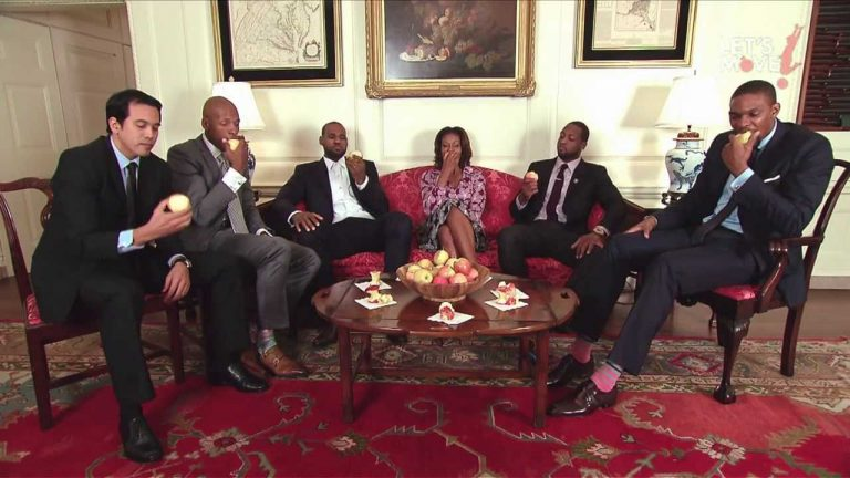 Michelle Obama Slam Dunk Lebron James