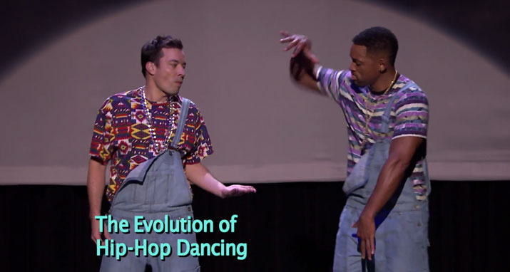 The  tonight show: Will Smith and Jimmy Fallon dancing hip-hop