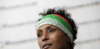 Human rights activist and top model Dirie from Somalia attends a news conference during the 4th World Meeting of Human Values and Culture of Lawfulness in Monterrey