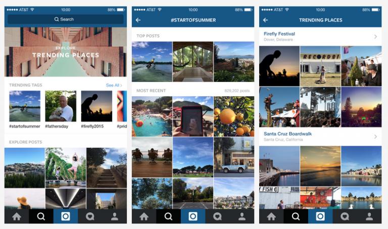 Instagram : Nouvelle fonction Rechercher et Explorer pour les tendances