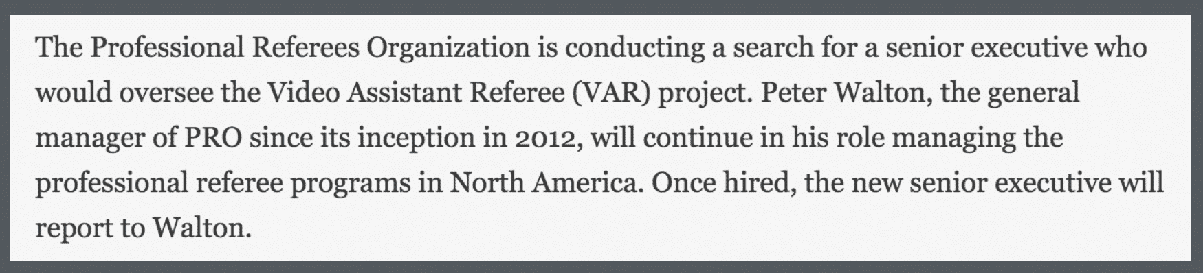 Déclaration de la Professional Referee Organization (PRO). Source : mlssoccer.com