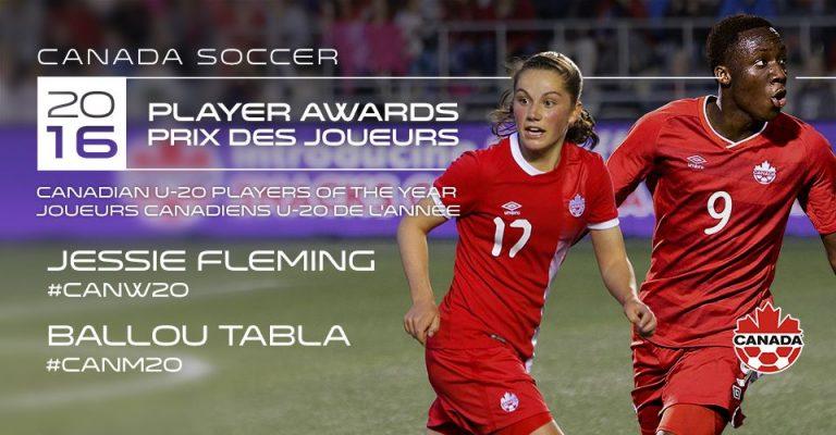 Tabla et Fleming sont les Joueurs canadiens U-20 de l'Année 2016