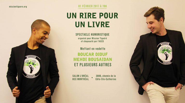 Spectacle bénéfice « Un rire pour un livre» organisé par Mission Tiguéré