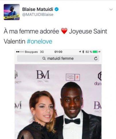 Blaise Matuidi femme Saint-Valentin
